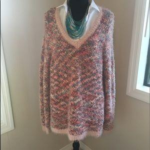 LC Lauren Conrad gorgeous peach / teal Sweater